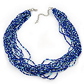Blue Glass Bead Multistrand Necklace In Silver Plating - 42cm Length/ 6cm Extension