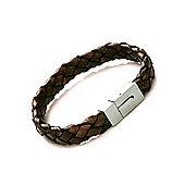Tribal Steel Mens Brown Leather Plaited Braid Bracelet