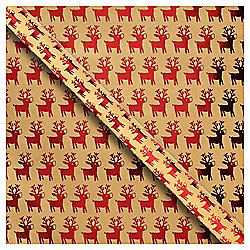 Kraft Reindeer Christmas Wrapping Paper, 3m
