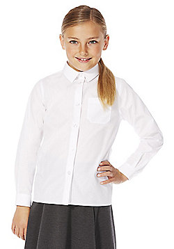 F&F School 5 Pack of Girls Easy Iron Long Sleeve Shirts - White