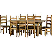 Corona Extending Dining Set (1+8) Distressed Waxed Pine/Expresso Brown PU