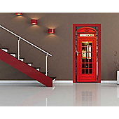 1Wall British Red Phone Box Door Mural