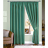 Dreams and Drapes Java 3 Pencil Pleat Lined Faux Silk Curtains (inc. t/b) 66x72 inches (168x183cm) - Teal