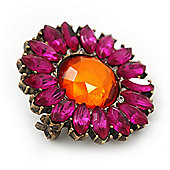 Vintage Fuchsia/Orange Acrylic 'Daisy' Brooch In Bronze Finish - 3cm Diameter