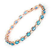 QP Jewellers 7in 5.50ct Blue Topaz Infinite Tennis Bracelet in 14K Rose Gold