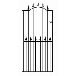 Wrought Iron Style Spear Top Tall Side Garden Gate 122cm GAP x 198cm High