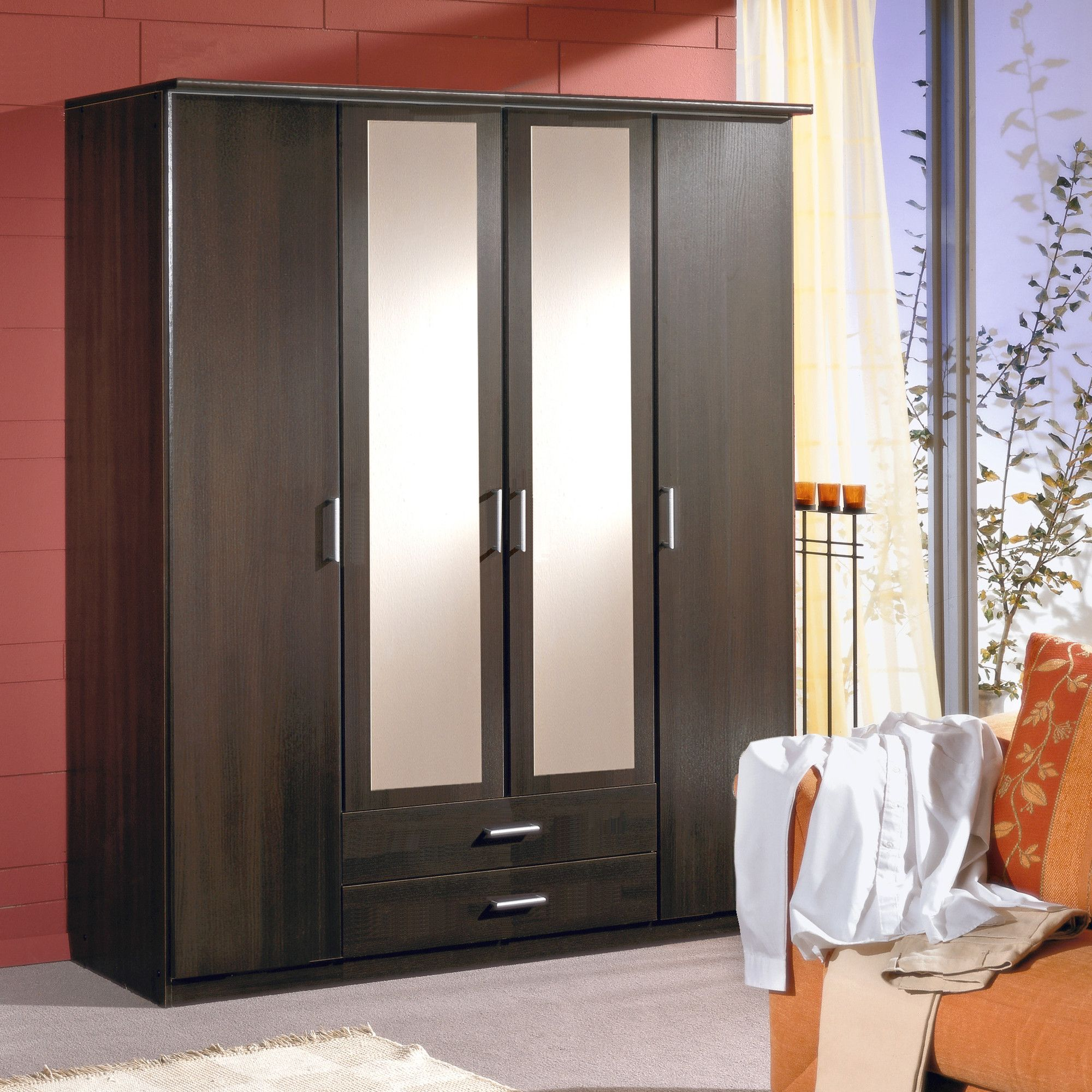 Amos Mann furniture Venice 4 Door 2 Drawer Wardrobe - Wenge at Tesco Direct