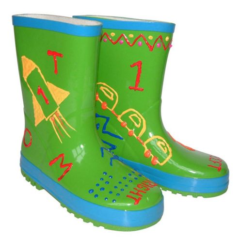 Kids Funky Paint Your Own Green Wellies (Medium)