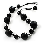 Chunky Black Ceramic & Resin Bead Cotton Cord Necklace
