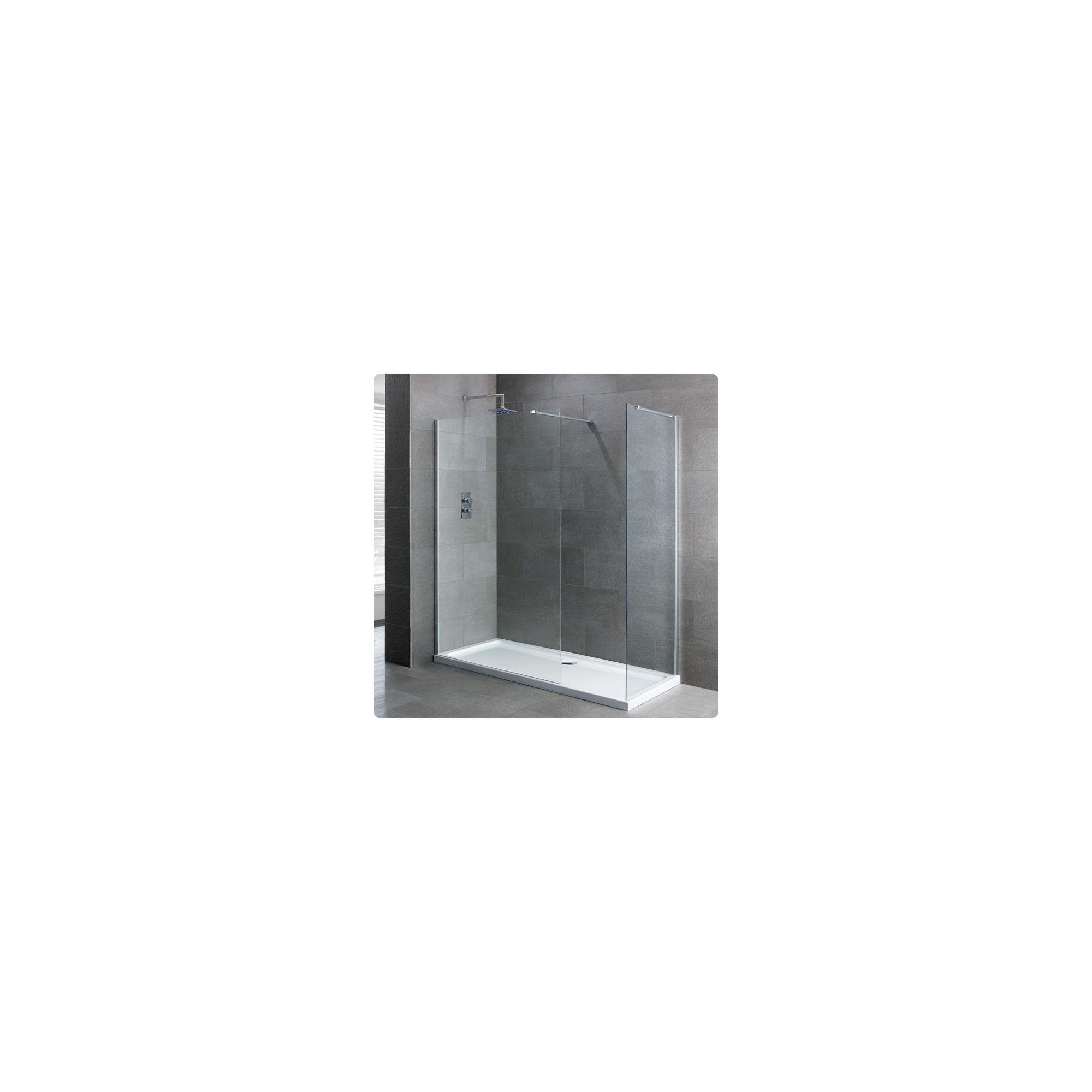 Duchy Select Silver Walk-In Shower Enclosure 1500mm x 760mm, Standard Tray, 6mm Glass at Tesco Direct