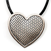 Chunky Textured Heart Pendant With Black Leather Cord Necklace (Matte Silver Finish) - 36cm Length