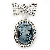 Diamante 'Cameo With Bow' Brooch In Rhodium Plated Metal