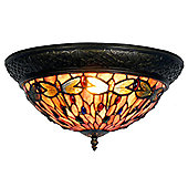 Arcade 19cm Tiffany Two Light Dragonfly Ceiling Light with Ring