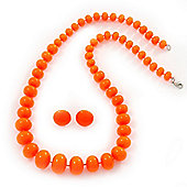 Neon Orange Acrylic Bead Necklace & Stud Earrings Set - 54cm Length