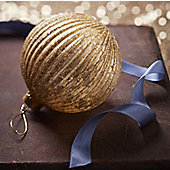 Gold Ribbed Glass Christmas Bauble