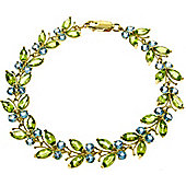 QP Jewellers 5.5in Blue Topaz & Peridot Butterfly Bracelet in 14K Gold