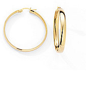 Jewelco London 9ct Yellow Gold - Hoop Earrings -
