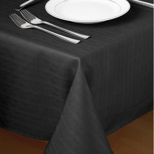 Country Club Hem Stitch Tablecloth in Black