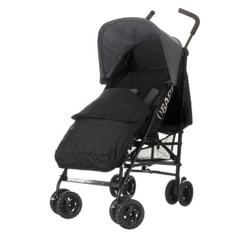 Obaby Atlas Black & Grey Stroller with Black Footmuff/Grey Hood