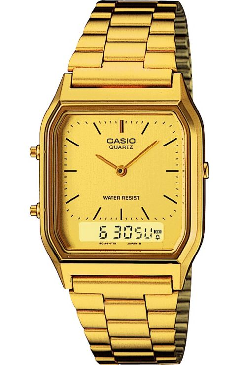 Casio Classic Unisex Gold Ion-plated Chronograph Watch AQ-230GA-9DMQYES