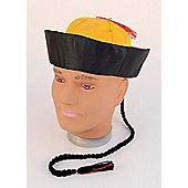 Mandarin Hat+pigtail. Material