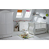 Tutti Bambini Marie 3 Piece + Sprung Mattress Nursery Room Set - White