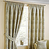 Homescapes Natural Jacquard Curtain Pair Embroidered Trees 46x72""