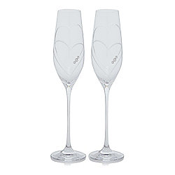 s/2 Twin Heart Champagne Flutes