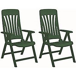 Resol Blanes Folding Multi-Position Garden Armchair - Green Plastic - x2