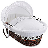 Clair de Lune Dark Wicker Moses Basket (Stardust White)