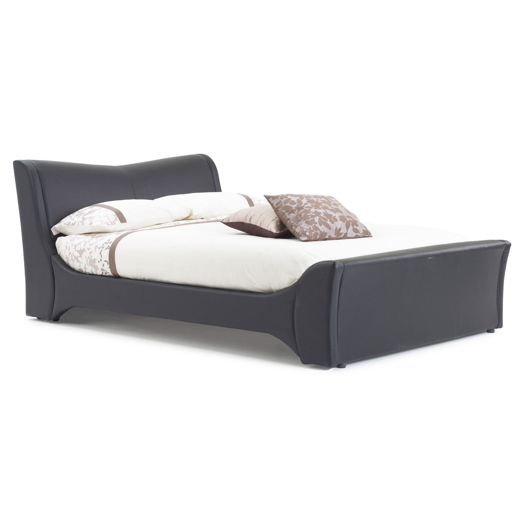 Frank Bosworth Veneto Leather Bed - Black - Double at Tesco Direct