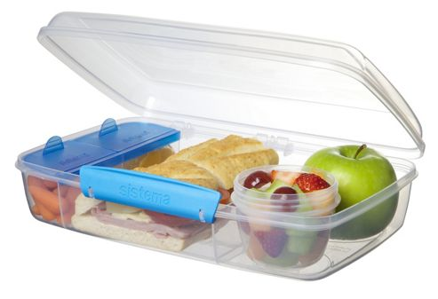 buy sistema bento lunch box to go blue clips from our lunch bags boxes range tesco. Black Bedroom Furniture Sets. Home Design Ideas
