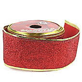 Ribbon Glitter Wired Edge - 5cm x 10y - Red