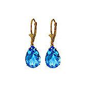 QP Jewellers 13.0ct Blue Topaz Pear Cut Drop Earrings in 14K Gold