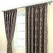 "Homescapes Purple Jacquard Curtain Modern Curve Design Fully Lined - 90"" X 90"" Drop"