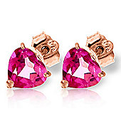 QP Jewellers 3.25ct Pink Topaz Heart Stud Earrings in 14K Rose Gold