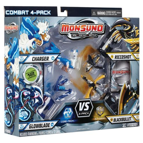 Monsuno Core-Tech Combat 4-Pack Charger Glowblade Riccoshot Blackbullet