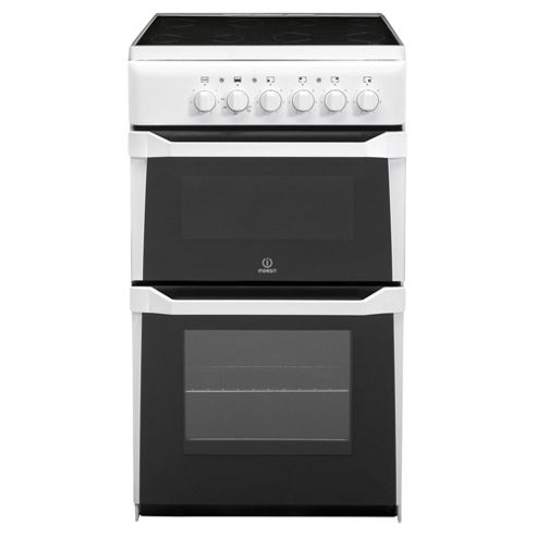 Indesit IT50CWS, Freestanding Electric Cooker, 50cm, White, Twin Cavity, Single Oven