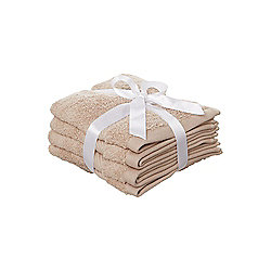 Hotel Collection Zero Twist Face Cloth Set Of 4 In Brown