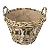 Wicker Valley Lined Log Basket in Green Ash