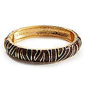Brown & Olive Green Enamel Hinged Bangle Bracelet (Gold Tone)