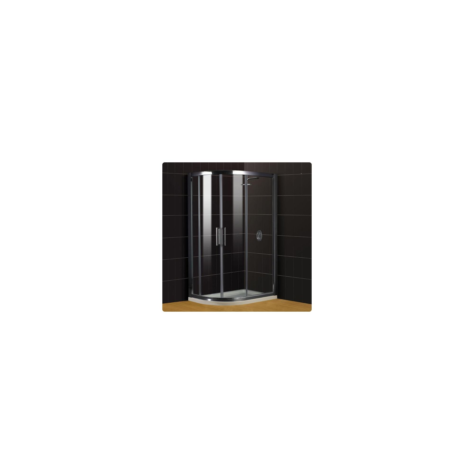 Duchy Supreme Silver Offset Quadrant Shower Enclosure (Complete with Tray) 1000mm x 760mm, 8mm Glass at Tesco Direct