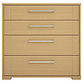 Modular Oak 4 Drawer Chest With Oak Shaker Drawers, Chrome Handle