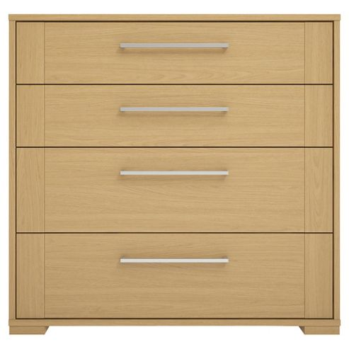 Modular Oak 4 Drawer Chest with Oak Shaker Drawers, Chrome Handle.
