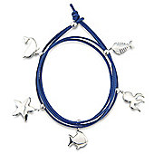 Jewelco London Sterling Silver - and Leather Sea Life Wristpiece - Bangle - Ladies