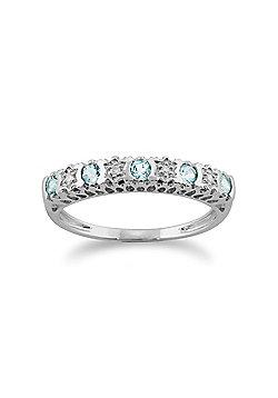 Gemondo 9ct White Gold 0.24ct Aquamarine & Diamond Half Eternity Ring