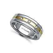 Jewelco London 9ct Yellow & White Gold 7mm Flat Court Diamond set 9pts Trilogy Wedding / Commitment Ring