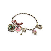 Stretchy Tea Party Silver Finish Charm Bracelet