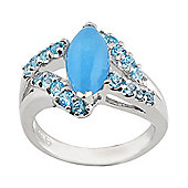 Gemondo Sterling Silver 2.18ct Blue Jade & 0.56ct Blue Topaz Cluster Statement Ring