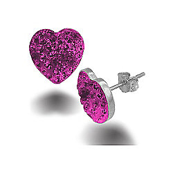 Jewelco London Sterling Silver Pink Crystal hot pink Love shape studs Heart Earrings